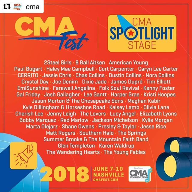 #Repost @cma Check our the full lineup for the Spotlight Stage at CMA Fest 2018! Be sure to head over to CMAfest.com for the full schedule and tickets 💖 ・・・ #CMAfest! Buy tickets while you still can: CMAfest.com/tickets