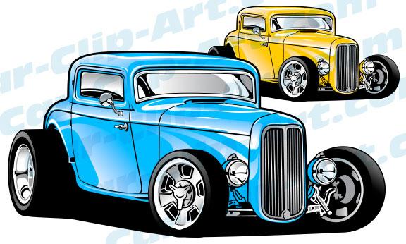 custom 1932 ford 3 window hot rod vector clipart � car
