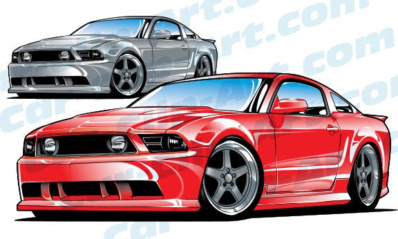 late model ford mustang vector clip art — car-clip-art