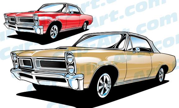 1965 Pontiac Gto Convertible Vector Car Clip Art Car