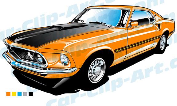 1969 ford mustang mach 1 vector clip art car clip art com rh car clip art com Muscle Car Coloring Pages Classic Car Clip Art