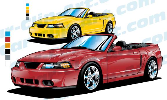 2004 Mustang Cobra Convertible Vector Art