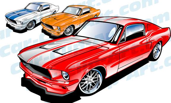 67 Mustang Vector Clip Art