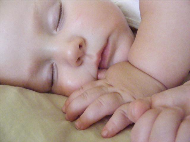 In a milk-drunk slumber :)