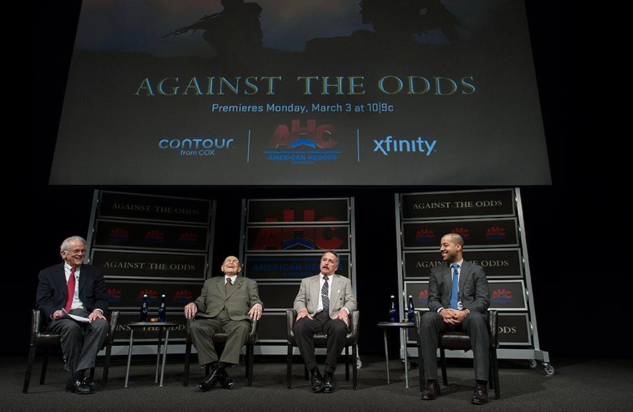 Newseum Vice Chairman Shelby Coffey moderates a panel featuring U.S. veterans Bill Steele, Sr. (Marine Corps – WWII), John Ligato (Marine Corps – Vietnam), and Perfecto Sanchez (Army – Iraq).