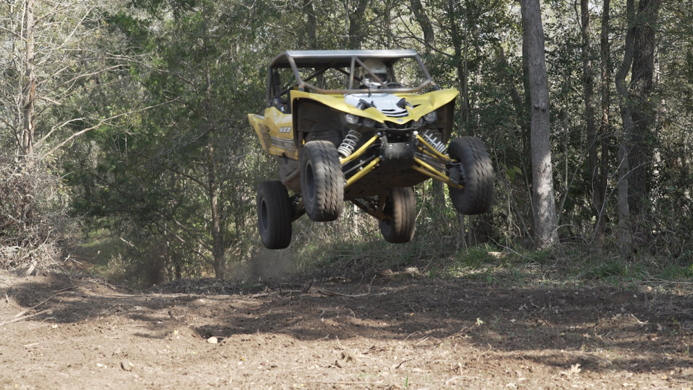Dave Carapetyan testing one of the RR Yamaha YXZ's on the Back 80 forest rally stage.