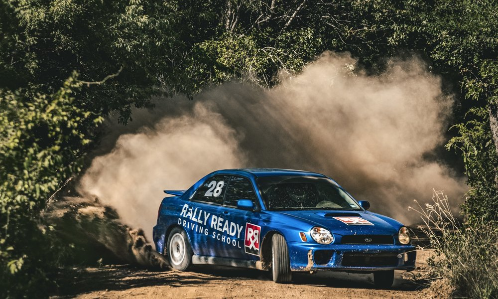 One of the Rally Ready WRX's at full lock sliding through our 2 mile Forest Rally Stage.
