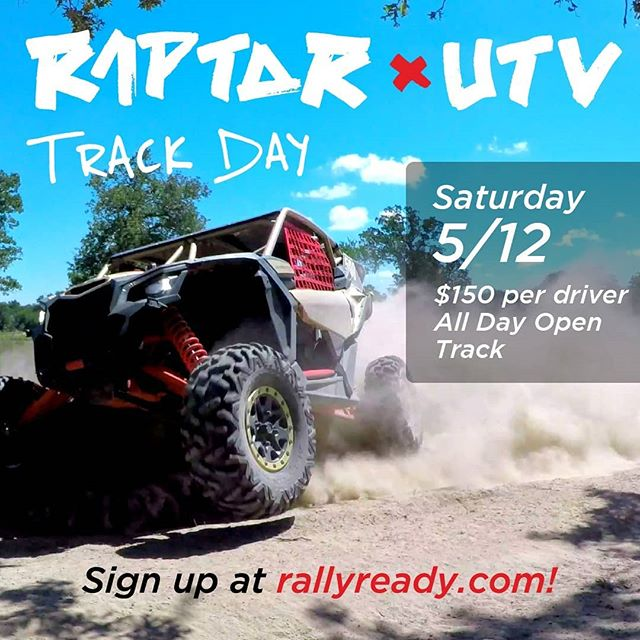 THIS SATURDAY! Open track day for all off-road vehicles! Tag a friend with a UTV, Raptor, prerunner, or desert race car, and come rip up the #rallyranch. Sign up at rallyready.com under races and track days.
