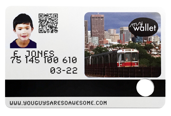 Children's Public Transit Wallet Card Back example