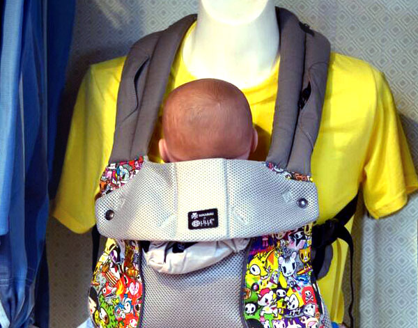Babywearing dispaly at Hop Scotch Children's Store