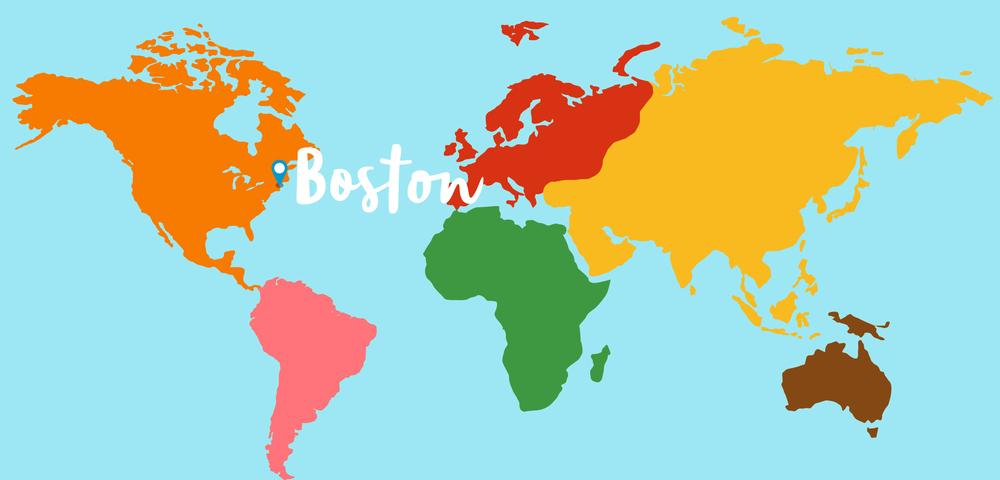 Boston on a world map