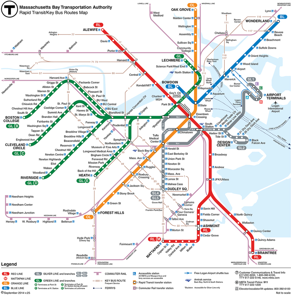 MBTA subway map