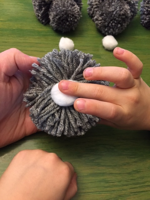Making pompom bunnies