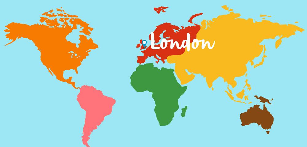 Montessori Map, centered on London