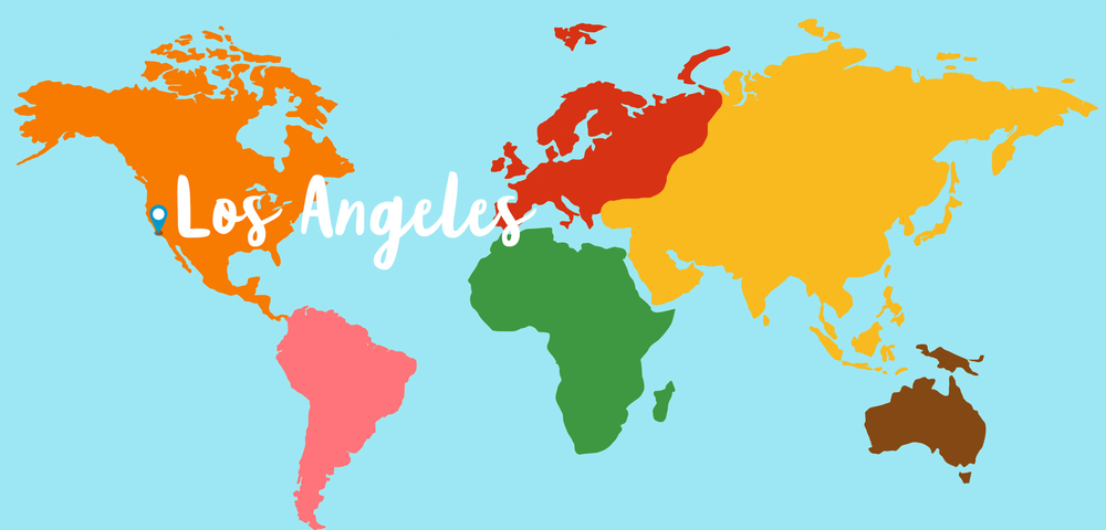World map with Los Angeles highlit