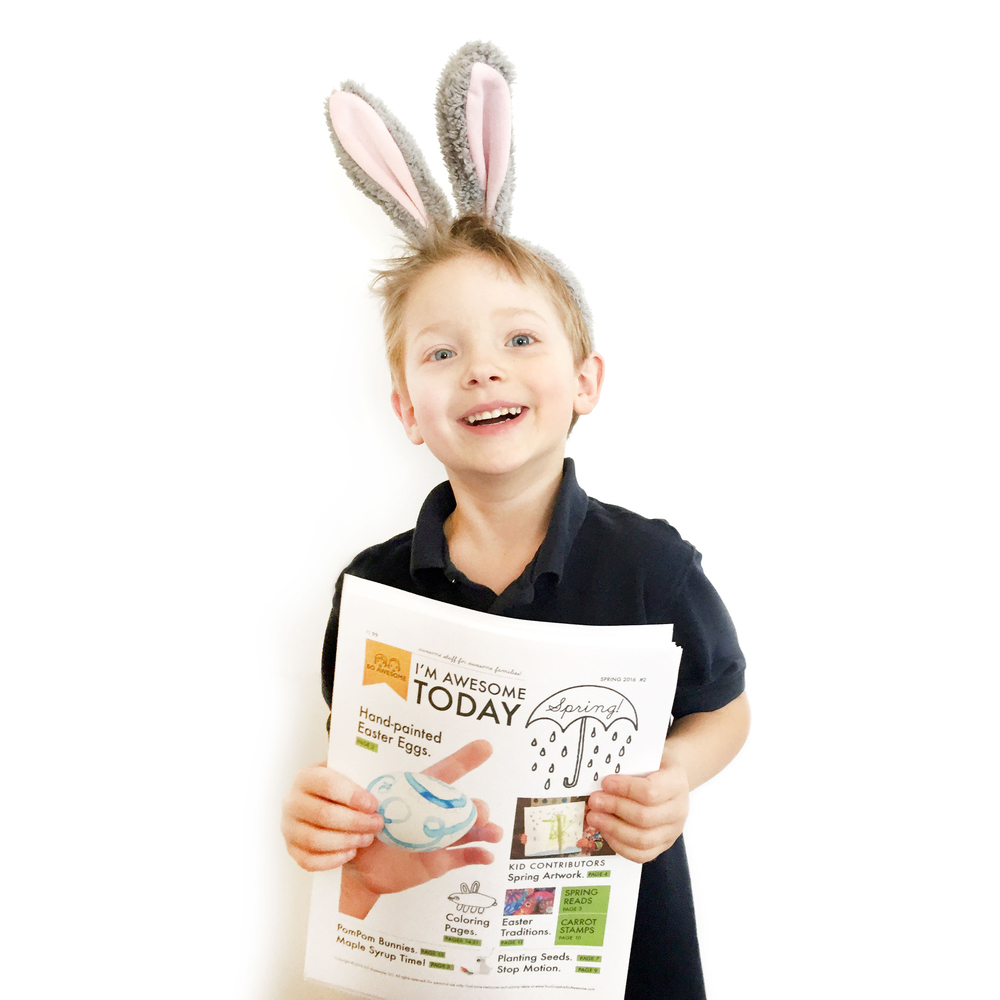 Owen hold the new Spring issue of I'm AWESOME TODAY!