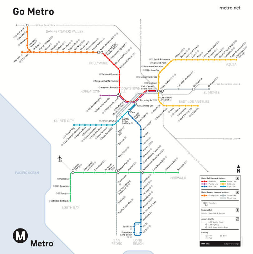 Go Metro Los Angeles Transit Map