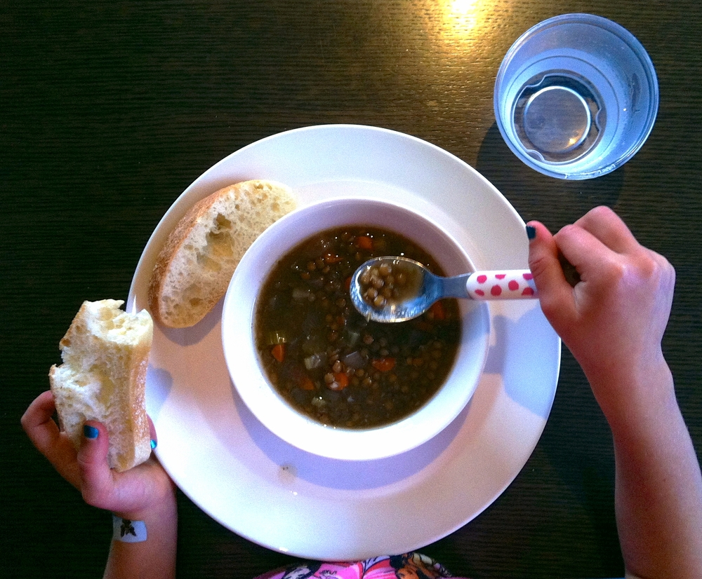 If it's not split pea soup, it just has to be lentil soup! Franka has loved this soup since she was two years old.