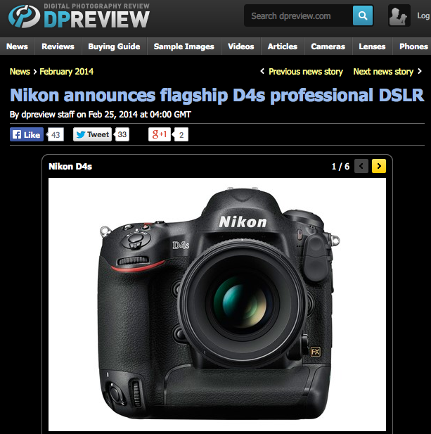 http://www.dpreview.com/news/2014/02/25/nikon-announces-flagship-d4s-professional-dslr?utm_source=notification&utm_medium=email&utm_campaign=generic