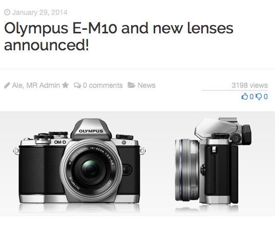 http://www.mirrorlessrumors.com/olympus-e-m10-and-new-lenses-announced