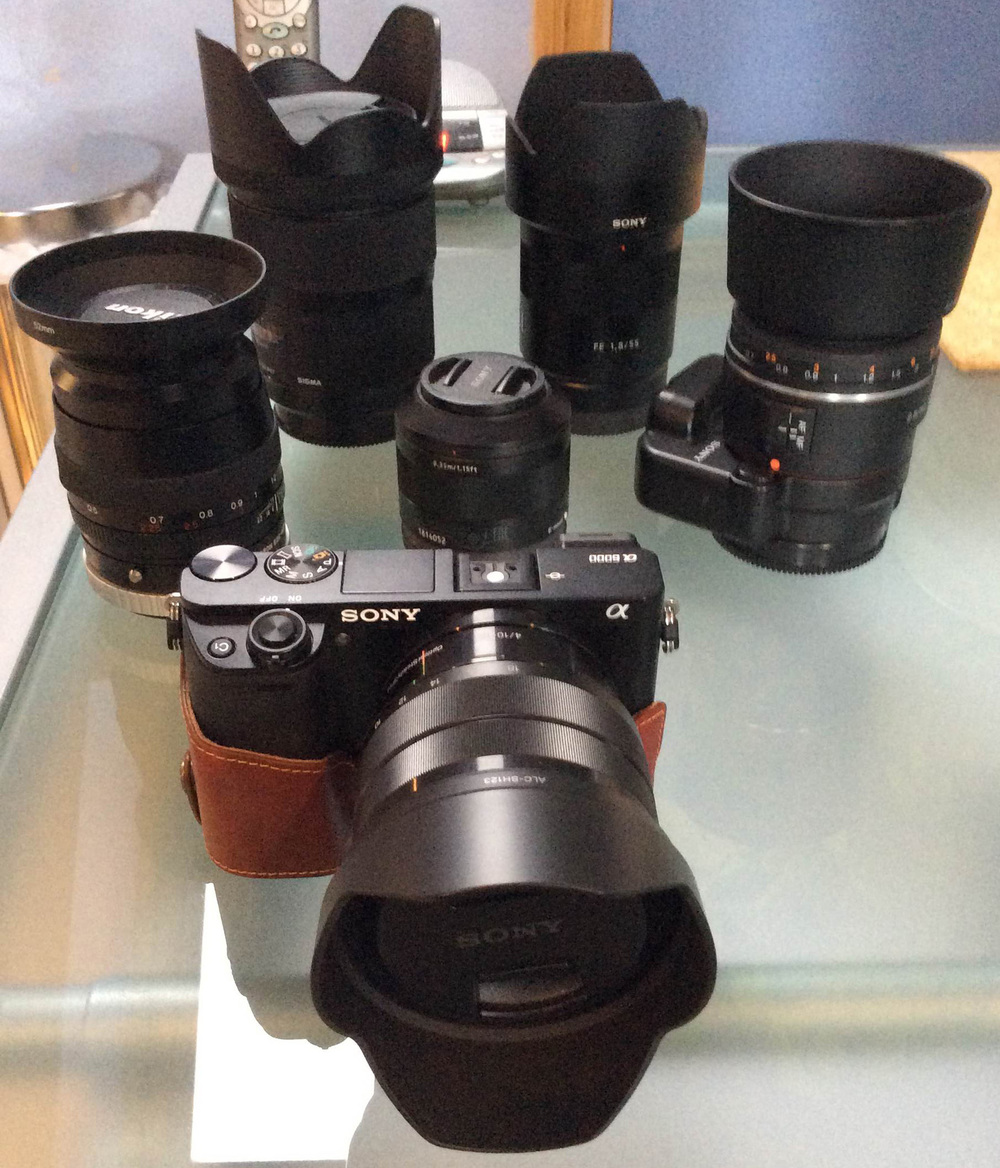 Sony A6000, Sony SEL1018 10-18mm f/4.0 Zoom Lens, Sigma 35mm F1.4 DG HSM a-mount lens for Sony, Sony SEL55F18Z E-mount Carl Zeiss Full Frame Prime Lens, Voigtlander 90mm f/3.5 Canon fit MF prime, Sony Alpha SAL85F28 85mm f/2.8 A-mount, Sony LA-EA4 A-mount to e-mount adapter,   Sony FE 35mm f2.8 ZA Carl Zeiss Sonnar T* Lens