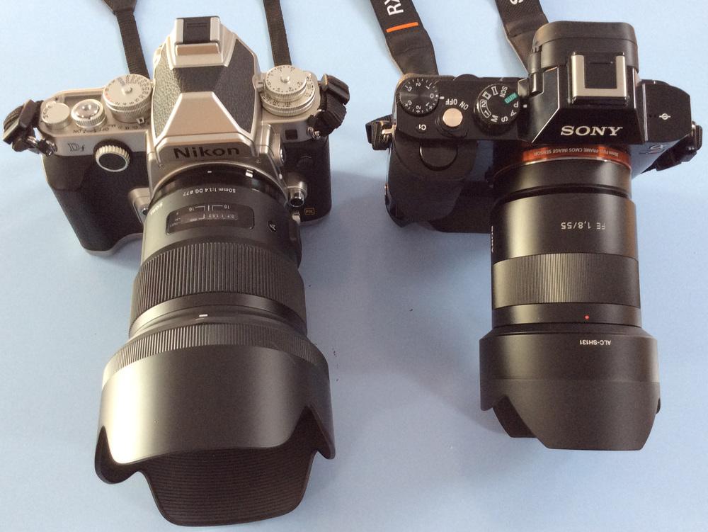 Nikon Df plus Sigma 50mm f/1.4 ART lens and Sony A7r plus Sony Zeiss 55mm f/1.8 lens.