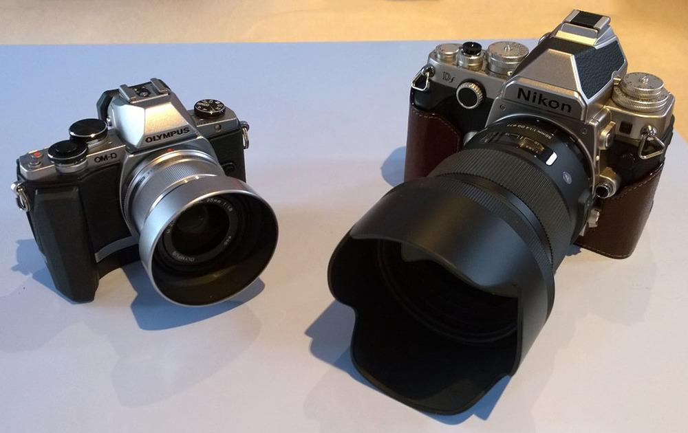 Olympus OM-D E-M10 m.Zuiko 25mm f/1.8 lens - Nikon Df Sigma 50mm f/1.4 ART lens