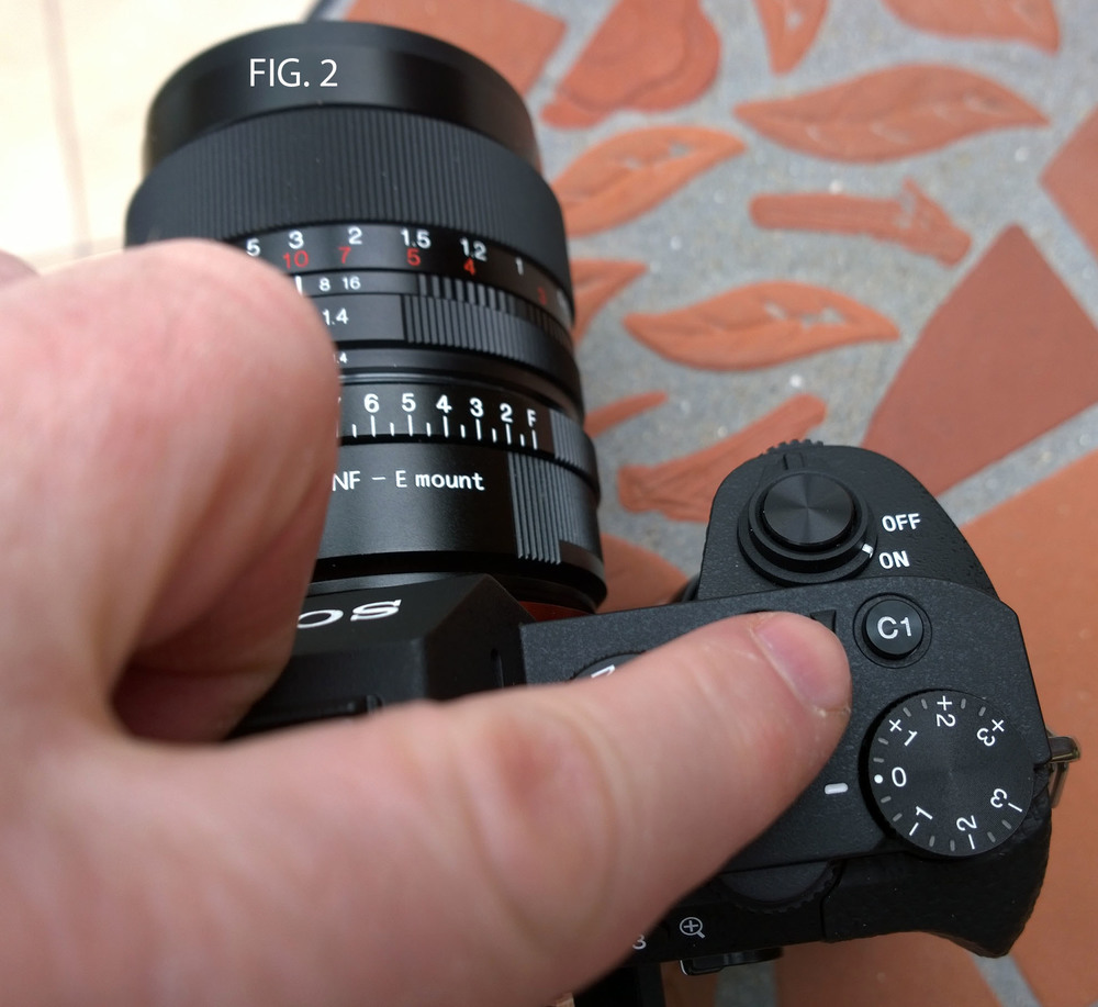 FIG. 2 - I've got the C1 function button set up to magnify the image. As you can see it's right next to the shutter button, perfect for hand holding and working via the EVF.