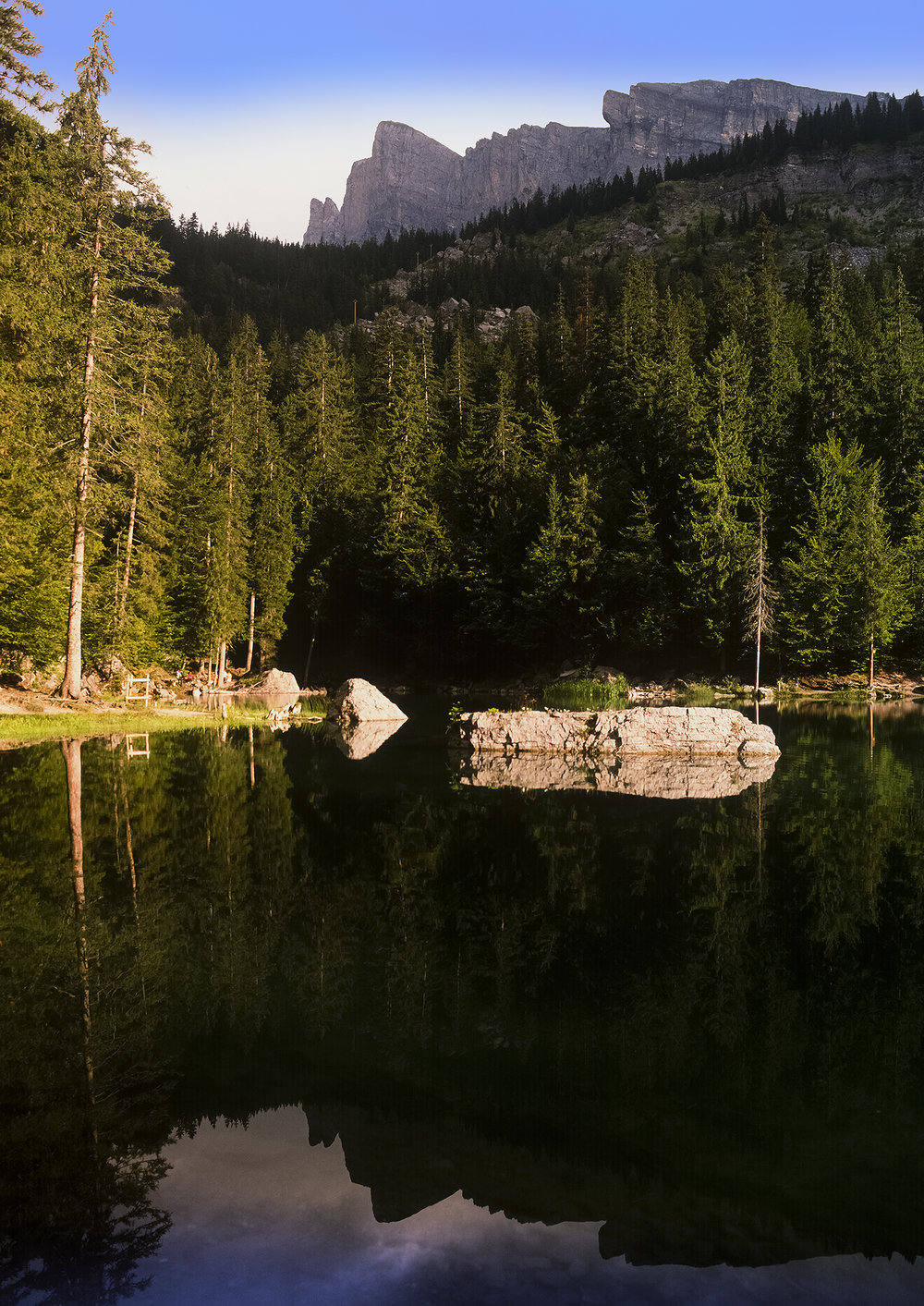 Lac Vert, Alps, France. Pentax 645 35mm lens Fuji Velvia 50.