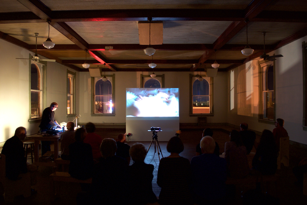 Resident Andrew Neumann and his video projection work