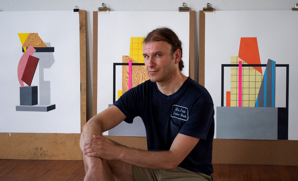 May 2017: Resident Armin Mühsam and his paintings.