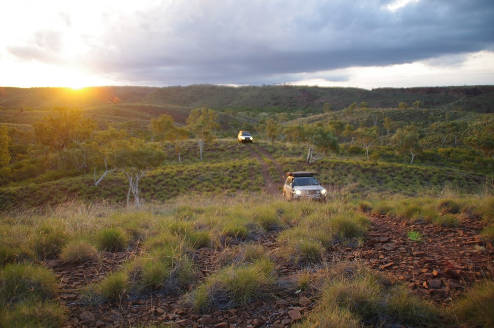 Searching for camp before the light fades, South Central Kimberley, Western Australia.