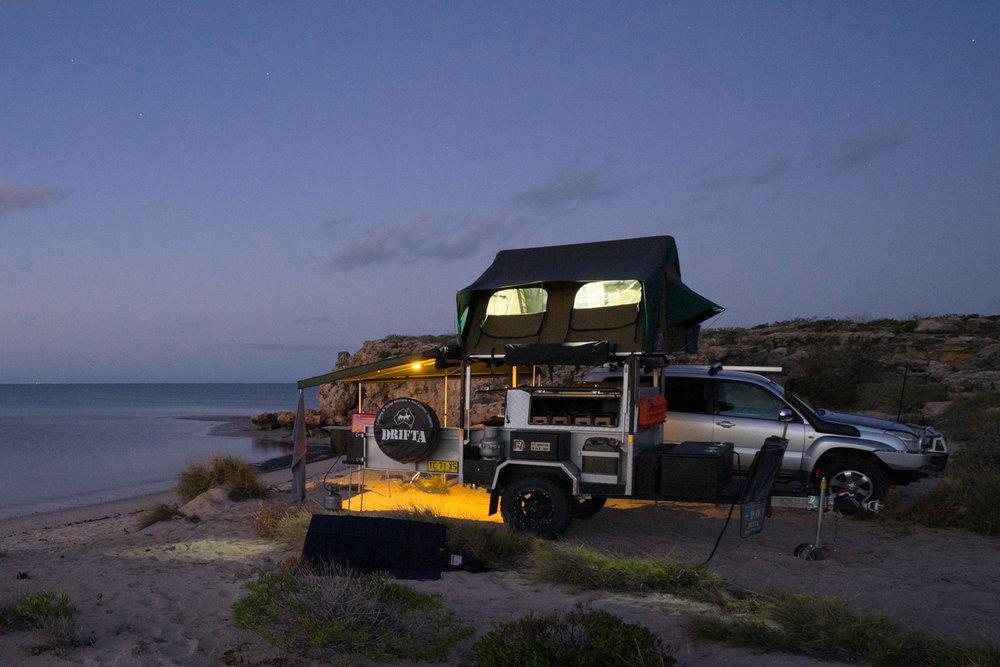 DRIFTA OFFROAD TOURER, DOT, Camper Trailer, 4x4, 4WD, Dirk Hartog Island, REDARC solar blanket, MAXTRAX