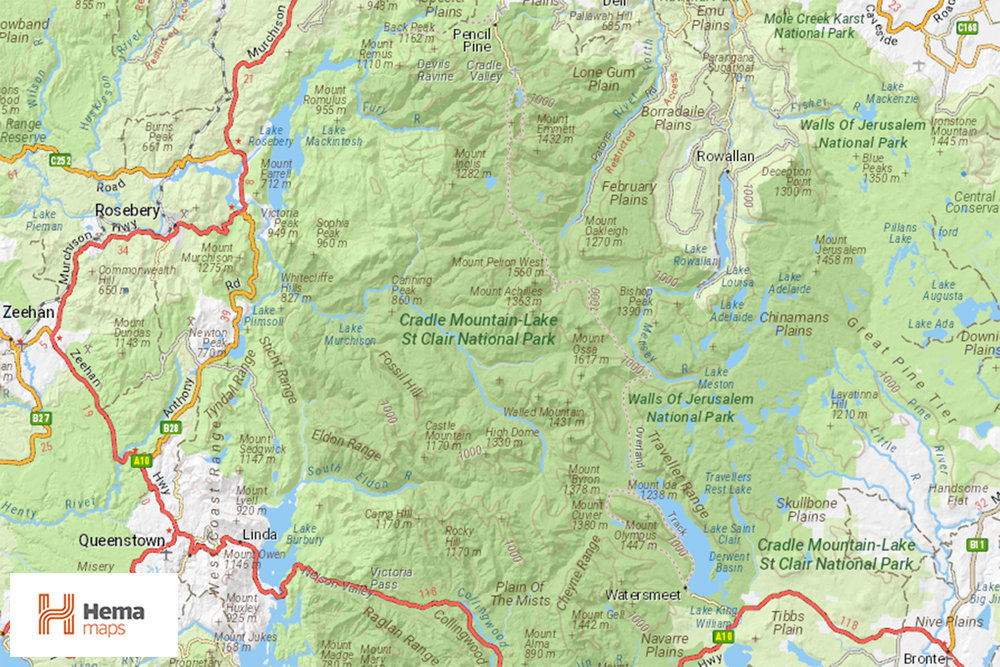 Overland Track, Tasmania, Australia, Hiking, HEMA, Map
