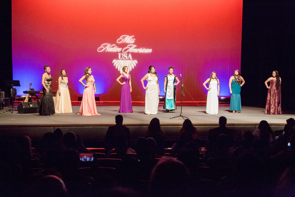 All of the lovely ladies lined up for the evening gown competition.