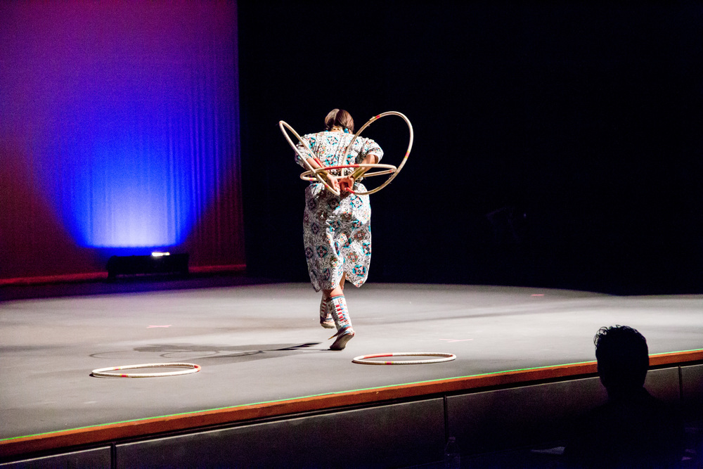 Contestant Kendra Redhouse hoop dancing during the talent portion of the pageant.