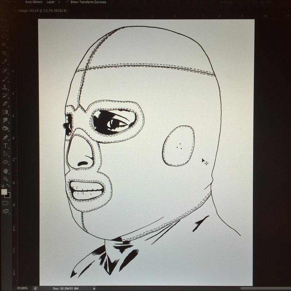 Another sneak peek of the next print I'm working on.    #illustration #graphic #design #luchador #wrestling #mask #portrait #art #print #ink #inktober #scan #screenprint  #silkscreen #poster #posterdesign