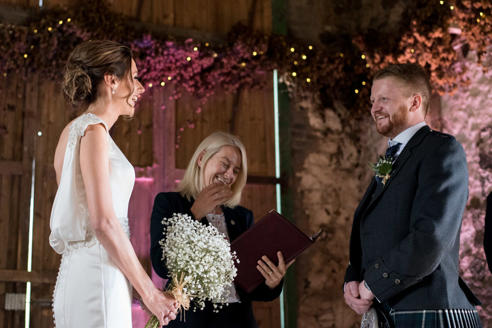 Wedding Photographer Edinburgh - Pratis Farm, ceremony barn