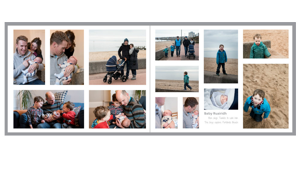 DOCUMENTING - This is a clip of my latest personal photo book, this page is documenting the day we met our friends baby for the first time, we played on the beach and my son sang 'Twinkle, Twinkle Little Star' when the baby cried. These little memories keep me grounded and happy.