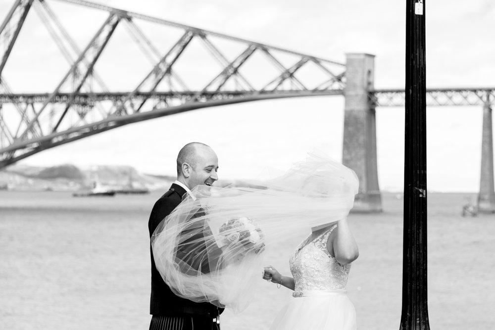 Orocco Pier Wedding - veil chaos
