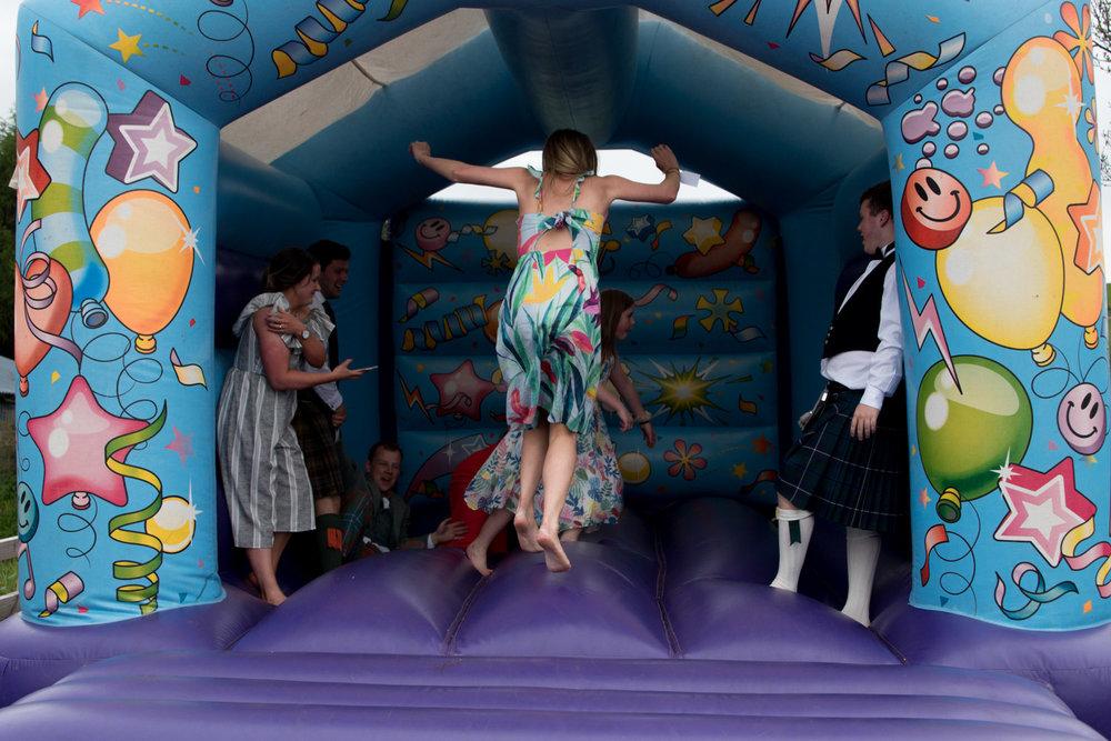 Guardswell Farm - wedding reception bouncy castle