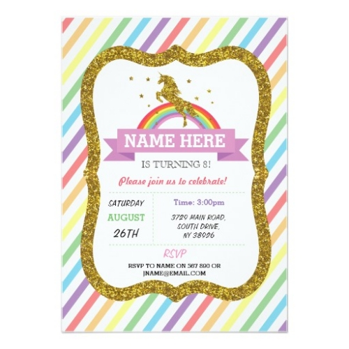 Personalised unicorn invitations from zazzle