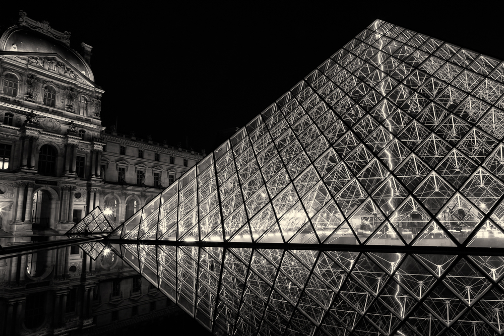 Louvre Pyramid in Black & White
