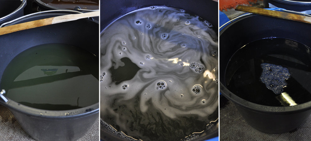 The dye mixture right away, after adding more thiox and soda, and after resting for 30 mins.