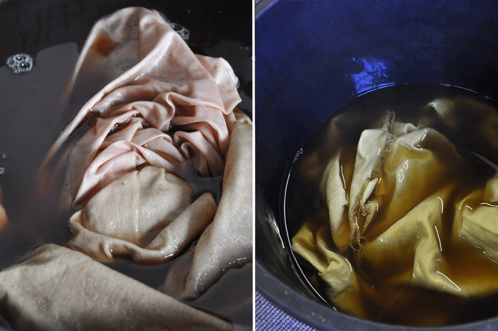Fabrics soaking in the rhubarb root dye bath, with added washing soda on the left.