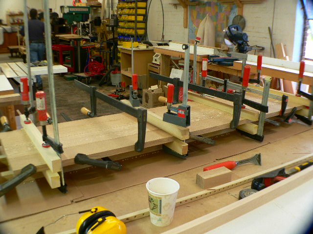 Console top panel glue up