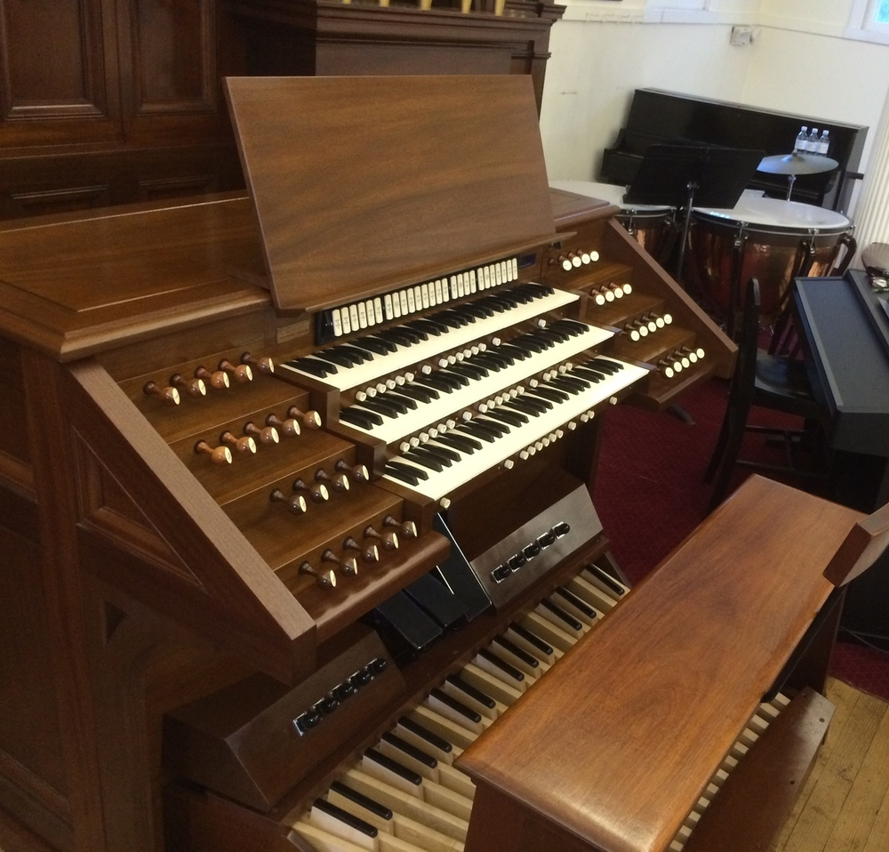 Odell Opus 651, 2013 • New three manual terrace jamb console for existing Austin organ. Norfolk Church of Christ Congregational, Norfolk, Connecticut