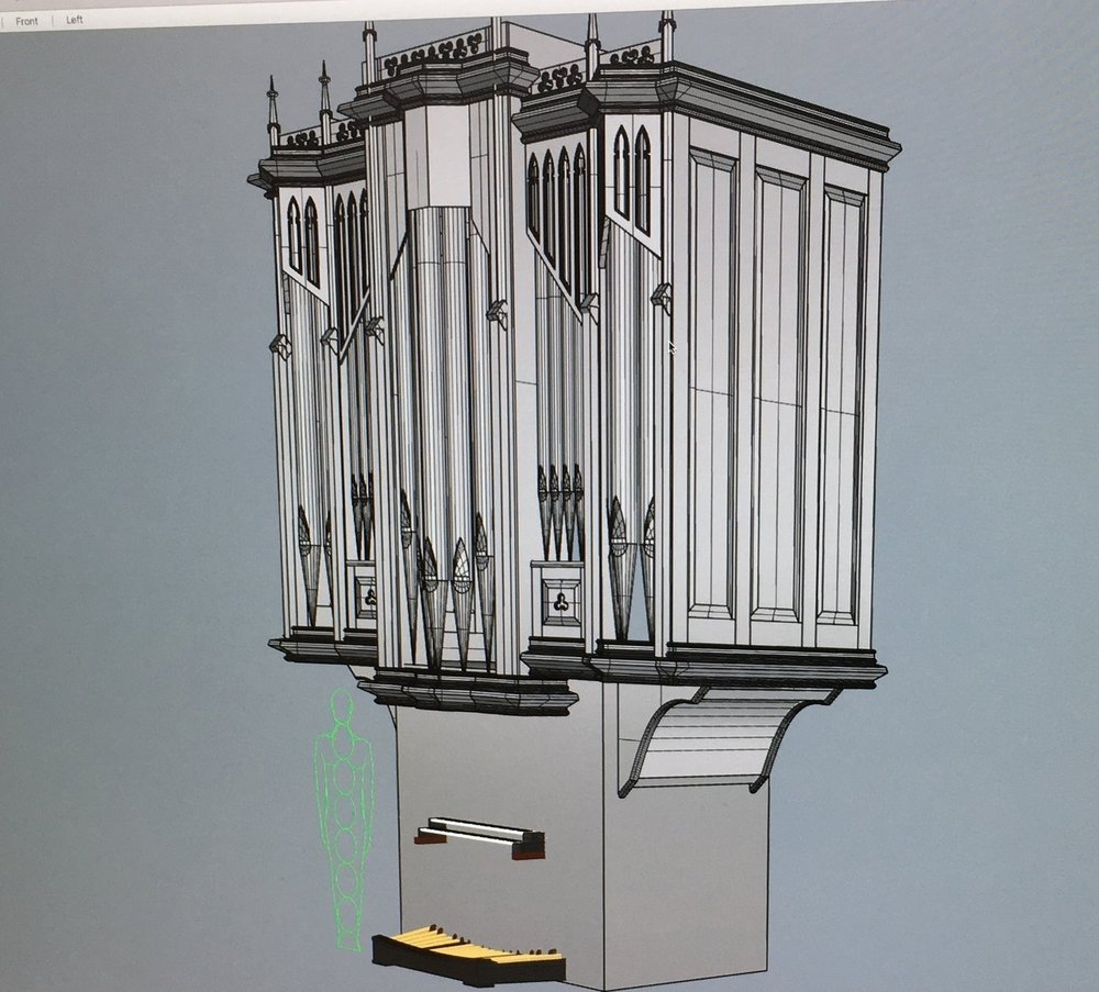 3D  Model in Rhino for an organ case in Gothic style.