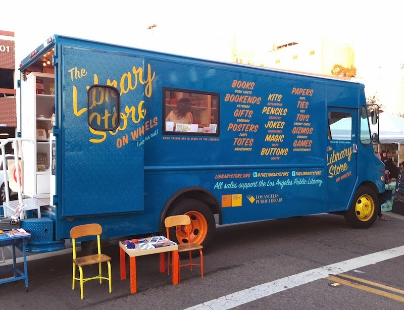 Patchwork had mobile pop-up shops and food trucks, like this dope book mobile.