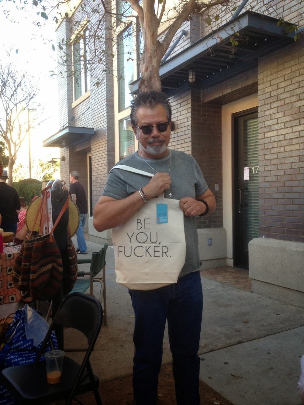 My pops and his new Sweet Perversion tote bag.
